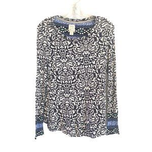 Lucky Brand Printed Thermal Long Sleeve Top Sz M